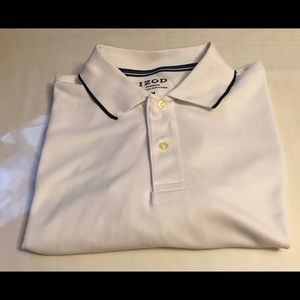 IZOD White Polo Shirt Men Size Medium
